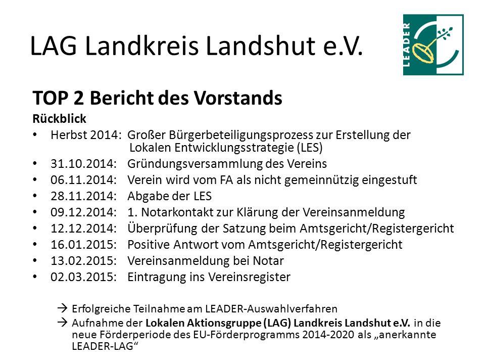 LAG Landkreis Landshut e.V. TOP 2 Bericht des Vorstands Rückblick Herbst 2014: Großer Bürgerbeteiligungsprozess zur Erstellung der Lokalen Entwicklung