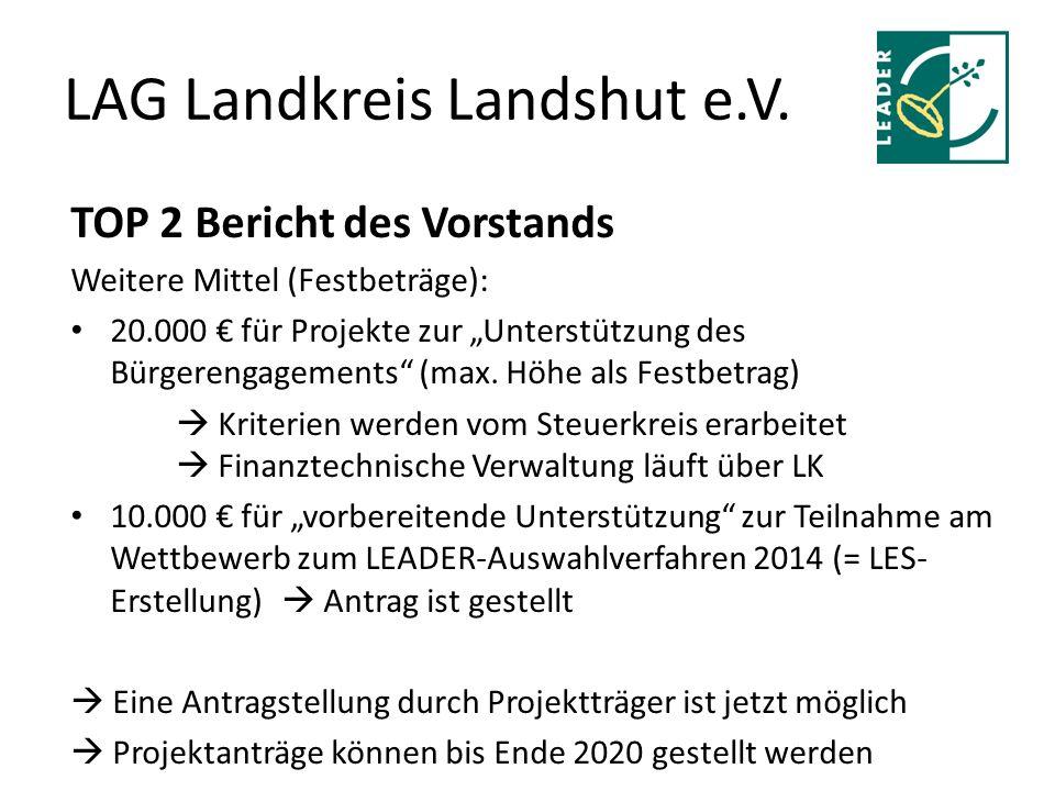 """LAG Landkreis Landshut e.V. TOP 2 Bericht des Vorstands Weitere Mittel (Festbeträge): 20.000 € für Projekte zur """"Unterstützung des Bürgerengagements"""""""