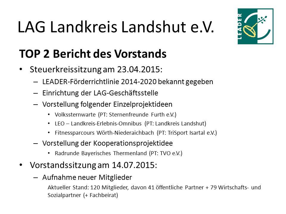 LAG Landkreis Landshut e.V. TOP 2 Bericht des Vorstands Steuerkreissitzung am 23.04.2015: – LEADER-Förderrichtlinie 2014-2020 bekannt gegeben – Einric