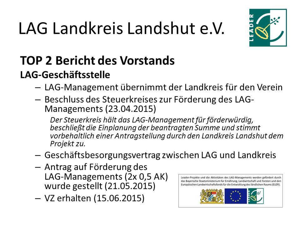 LAG Landkreis Landshut e.V. TOP 2 Bericht des Vorstands LAG-Geschäftsstelle – LAG-Management übernimmt der Landkreis für den Verein – Beschluss des St