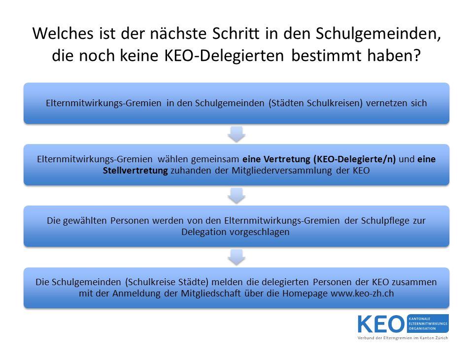 Welches ist der nächste Schritt in den Schulgemeinden, die noch keine KEO-Delegierten bestimmt haben.