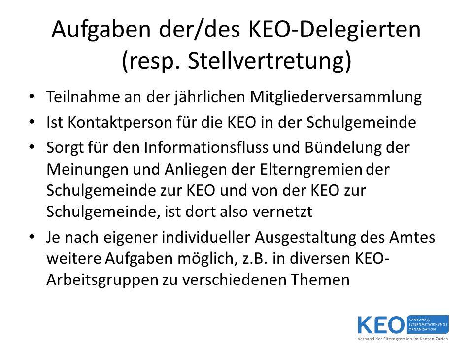 Aufgaben der/des KEO-Delegierten (resp.