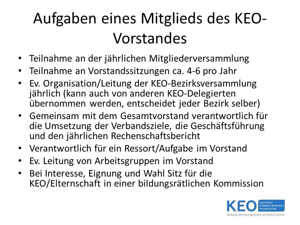 Aufgaben eines Mitglieds des KEO- Vorstandes Teilnahme an der jährlichen Mitgliederversammlung Teilnahme an Vorstandssitzungen ca.