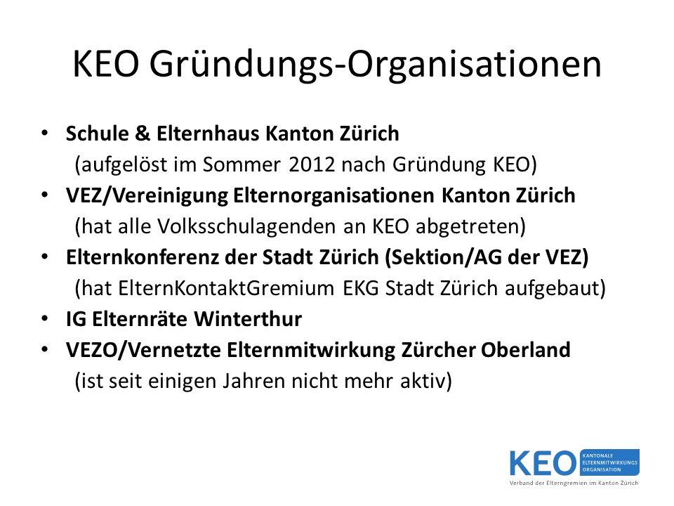 KEO Gründungs-Organisationen Schule & Elternhaus Kanton Zürich (aufgelöst im Sommer 2012 nach Gründung KEO) VEZ/Vereinigung Elternorganisationen Kanton Zürich (hat alle Volksschulagenden an KEO abgetreten) Elternkonferenz der Stadt Zürich (Sektion/AG der VEZ) (hat ElternKontaktGremium EKG Stadt Zürich aufgebaut) IG Elternräte Winterthur VEZO/Vernetzte Elternmitwirkung Zürcher Oberland (ist seit einigen Jahren nicht mehr aktiv)