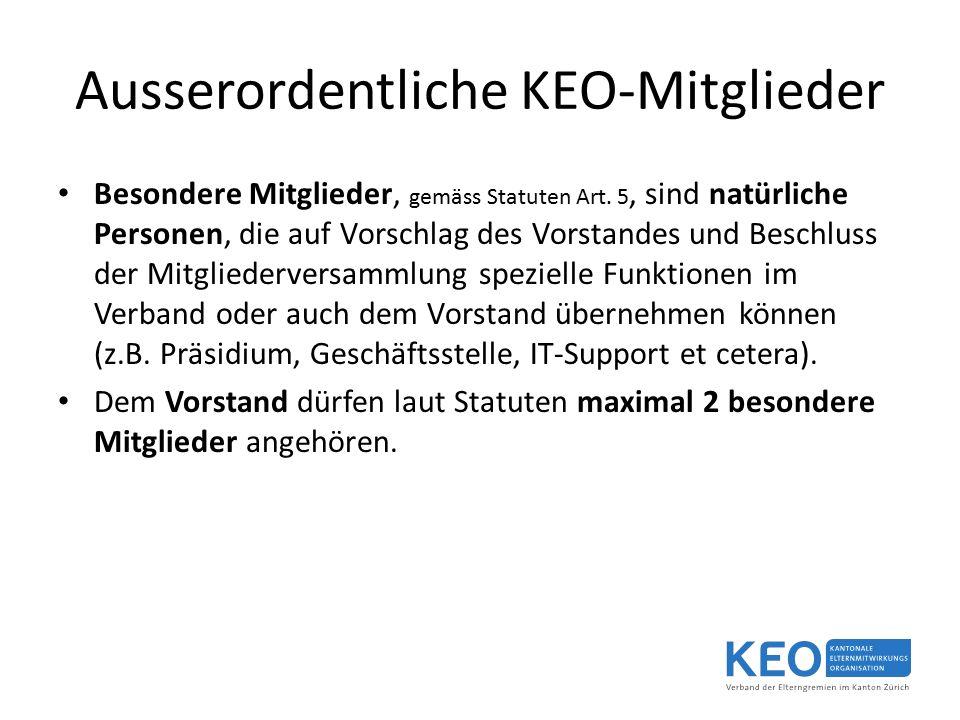 Ausserordentliche KEO-Mitglieder Besondere Mitglieder, gemäss Statuten Art.