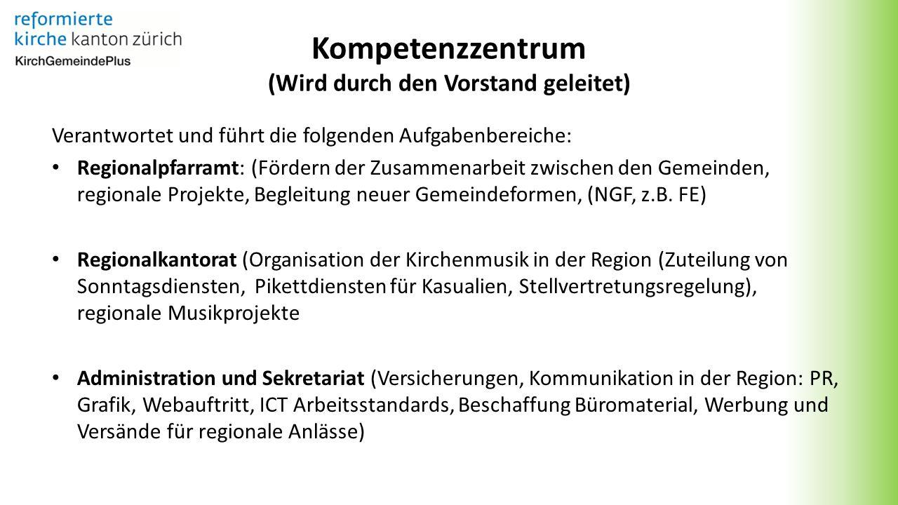 Kompetenzzentrum (Wird durch den Vorstand geleitet) Verantwortet und führt die folgenden Aufgabenbereiche: Regionalpfarramt: (Fördern der Zusammenarbeit zwischen den Gemeinden, regionale Projekte, Begleitung neuer Gemeindeformen, (NGF, z.B.