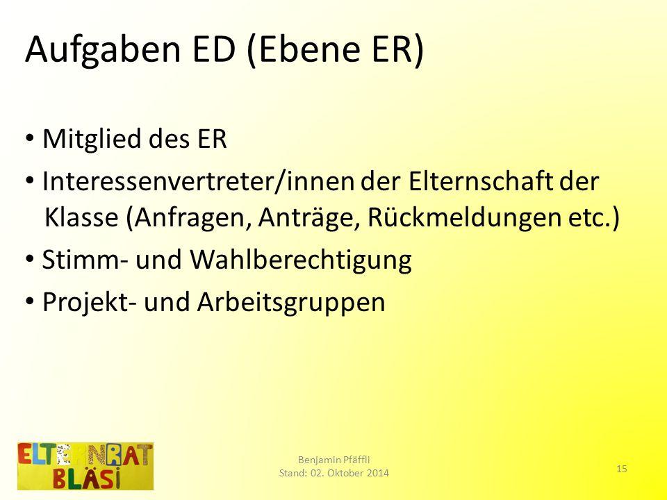 Aufgaben ED (Ebene ER) Mitglied des ER Interessenvertreter/innen der Elternschaft der Klasse (Anfragen, Anträge, Rückmeldungen etc.) Stimm- und Wahlberechtigung Projekt- und Arbeitsgruppen Benjamin Pfäffli Stand: 02.