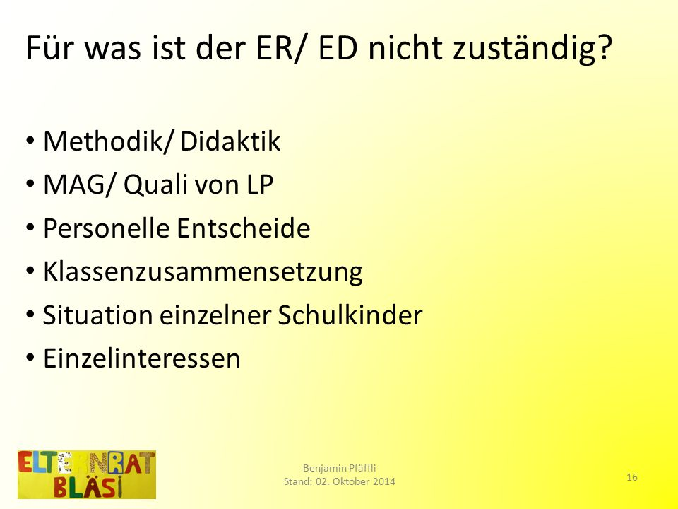 Für was ist der ER/ ED nicht zuständig.