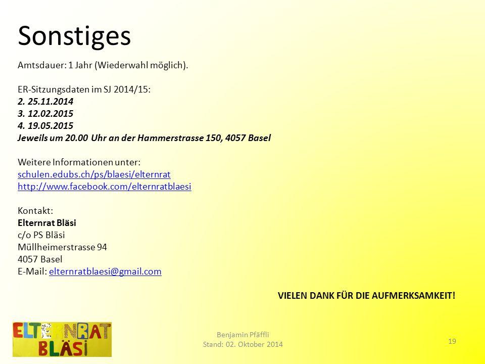 Sonstiges Amtsdauer: 1 Jahr (Wiederwahl möglich). ER-Sitzungsdaten im SJ 2014/15: 2.