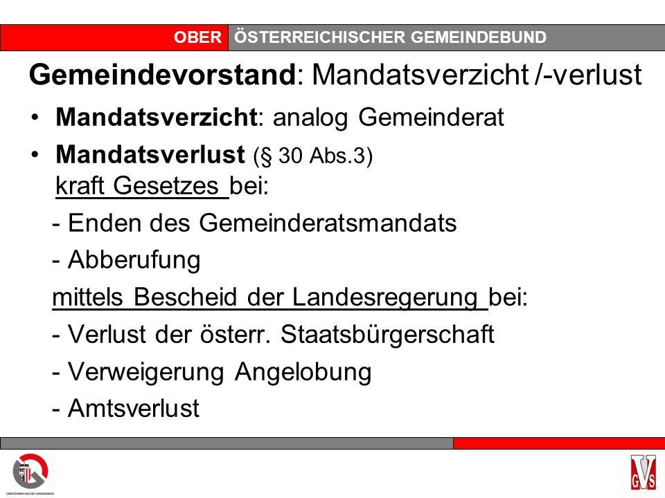 OBERÖSTERREICHISCHER GEMEINDEBUND Gemeindevorstand: Mandatsverzicht /-verlust Mandatsverzicht: analog Gemeinderat Mandatsverlust (§ 30 Abs.3) kraft Ge