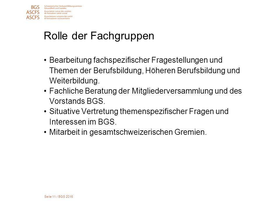 Seite 11 / BGS 2015 Rolle der Fachgruppen Bearbeitung fachspezifischer Fragestellungen und Themen der Berufsbildung, Höheren Berufsbildung und Weiterbildung.