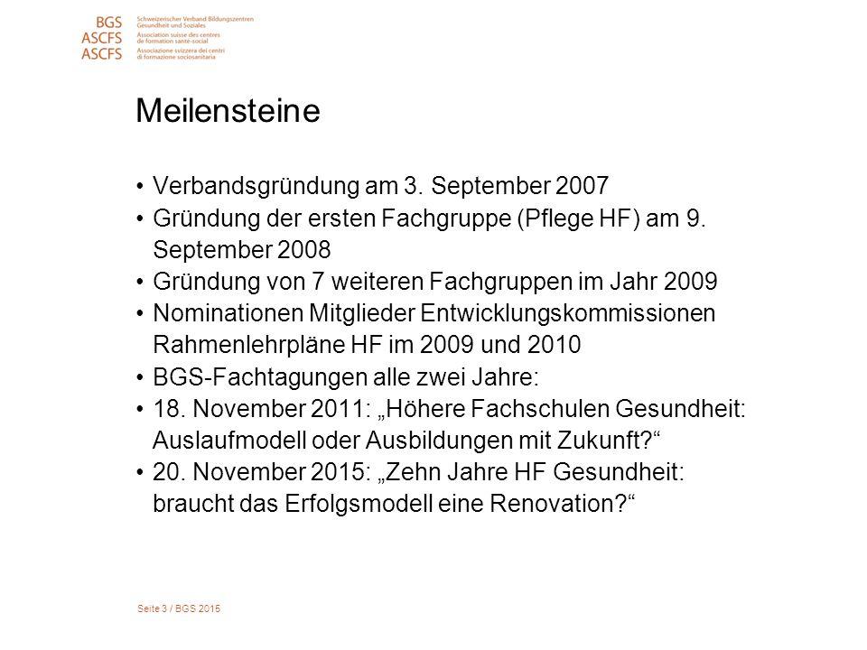 Seite 3 / BGS 2015 Meilensteine Verbandsgründung am 3. September 2007 Gründung der ersten Fachgruppe (Pflege HF) am 9. September 2008 Gründung von 7 w