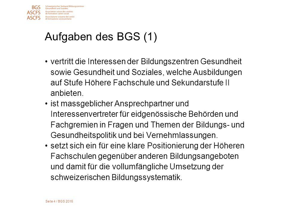 Seite 15 / BGS 2015 Bildungsgänge HF Gesundheit Gesamtzahl Studierende, Abschlüsse 2008 bis 2014, Neustartende 2010 bis 2014
