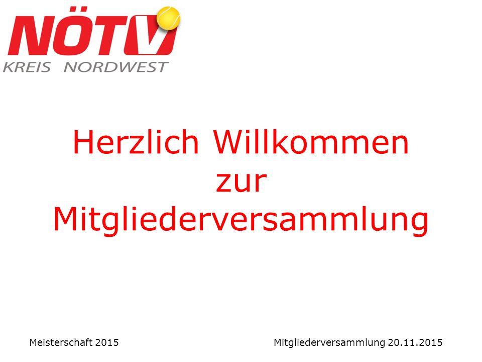 Herzlich Willkommen zur Mitgliederversammlung Meisterschaft 2015 Mitgliederversammlung 20.11.2015