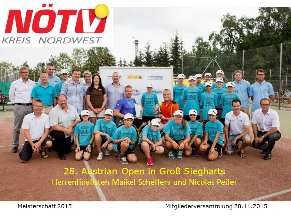 28. Austrian Open in Groß Siegharts Herrenfinalisten Maikel Scheffers und Nicolas Peifer Meisterschaft 2015 Mitgliederversammlung 20.11.2015