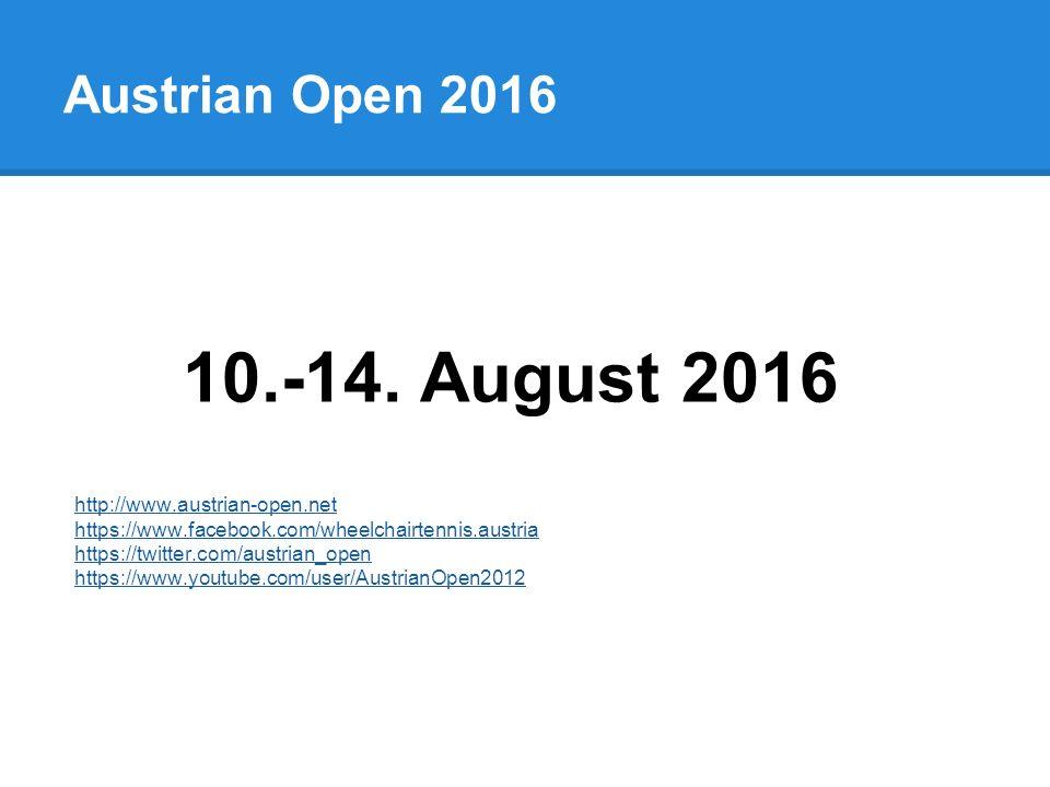 Austrian Open 2016 10.-14.