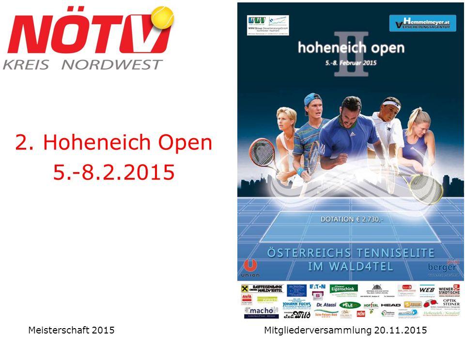 2. Hoheneich Open 5.-8.2.2015 Meisterschaft 2015 Mitgliederversammlung 20.11.2015