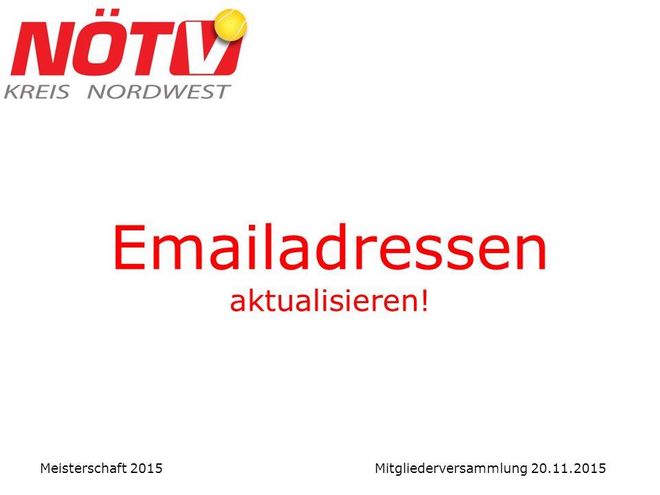 Emailadressen aktualisieren! Meisterschaft 2015 Mitgliederversammlung 20.11.2015