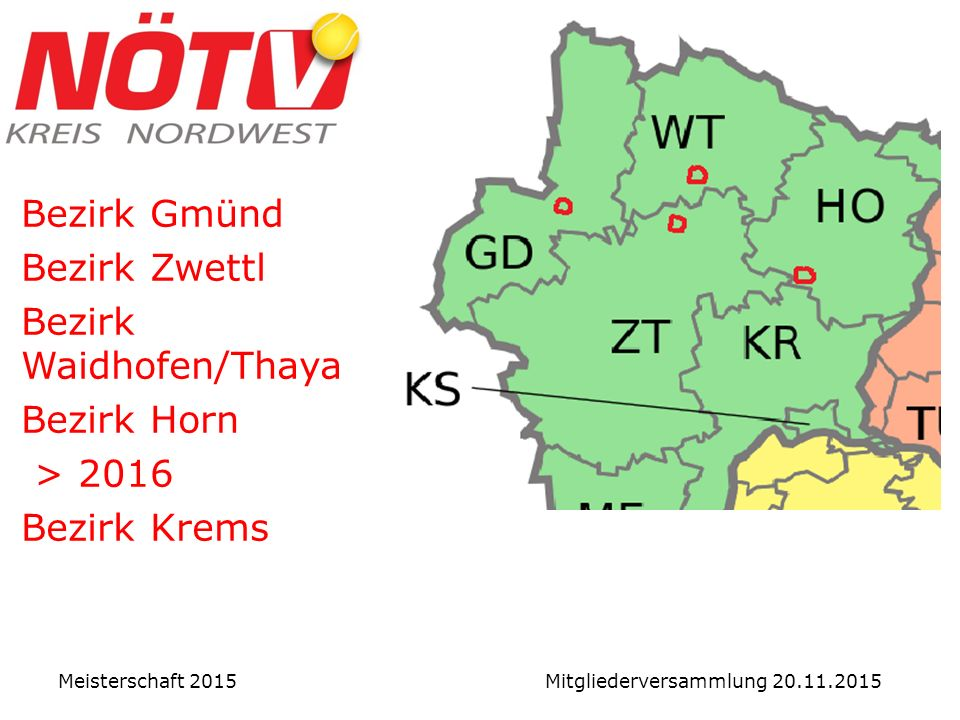 Vergleich in NÖ: Damen Meisterschaft 2015 Mitgliederversammlung 20.11.2015 Damen NWNOSWSOMLL Summe 46406861568751381