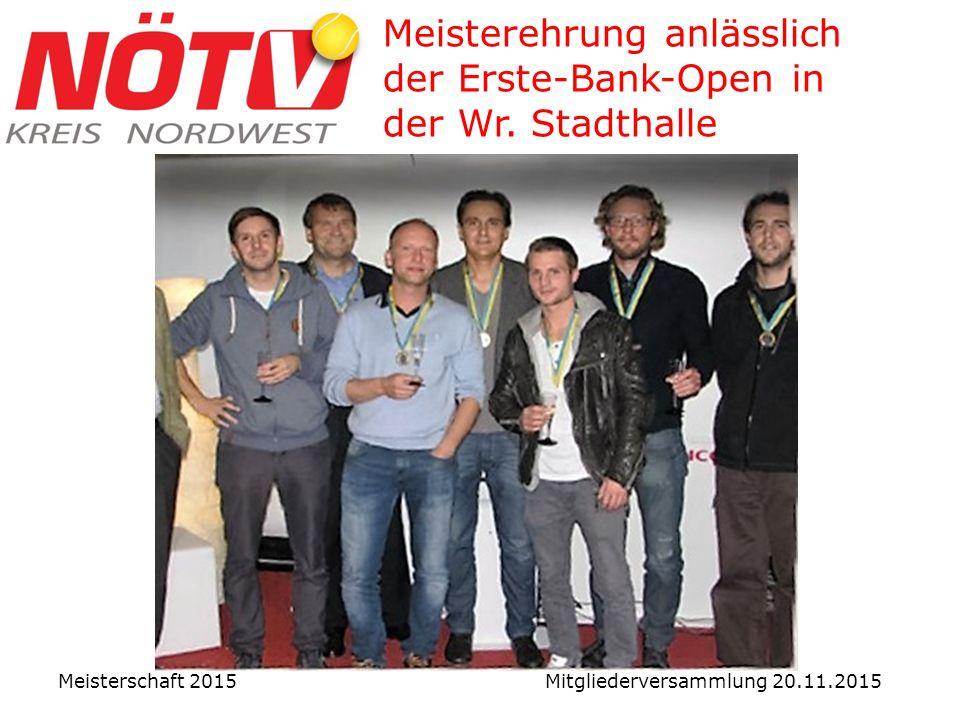Meisterehrung anlässlich der Erste-Bank-Open in der Wr.