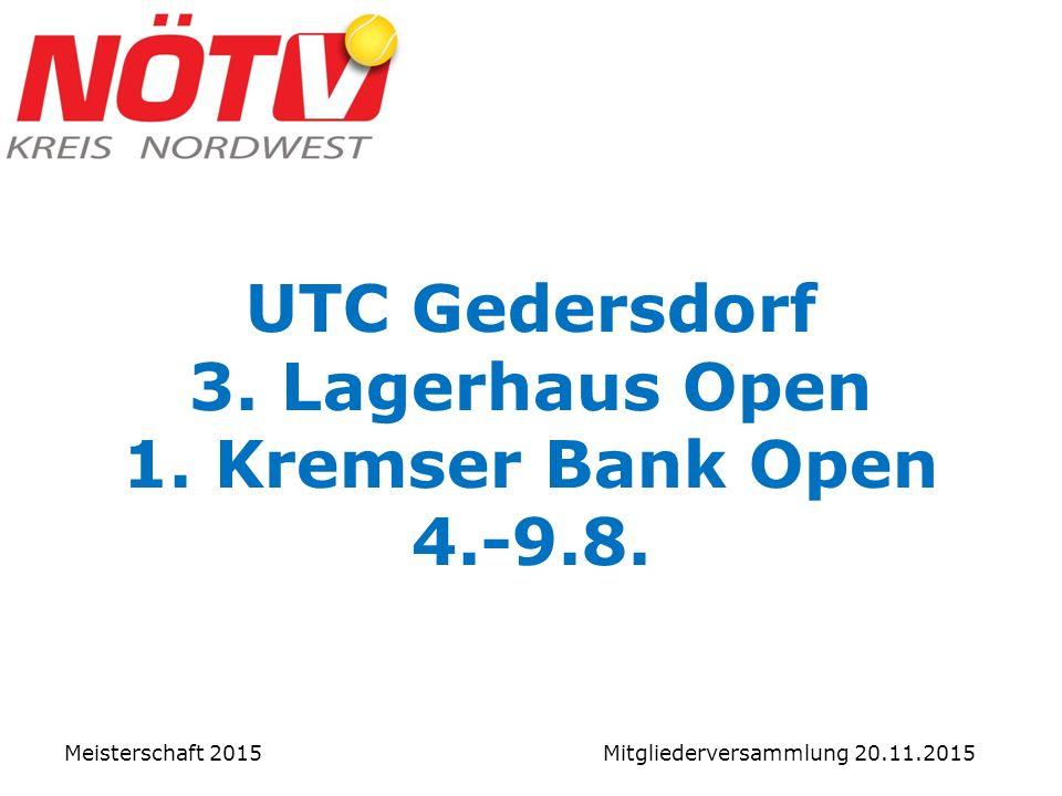 UTC Gedersdorf 3. Lagerhaus Open 1. Kremser Bank Open 4.-9.8.