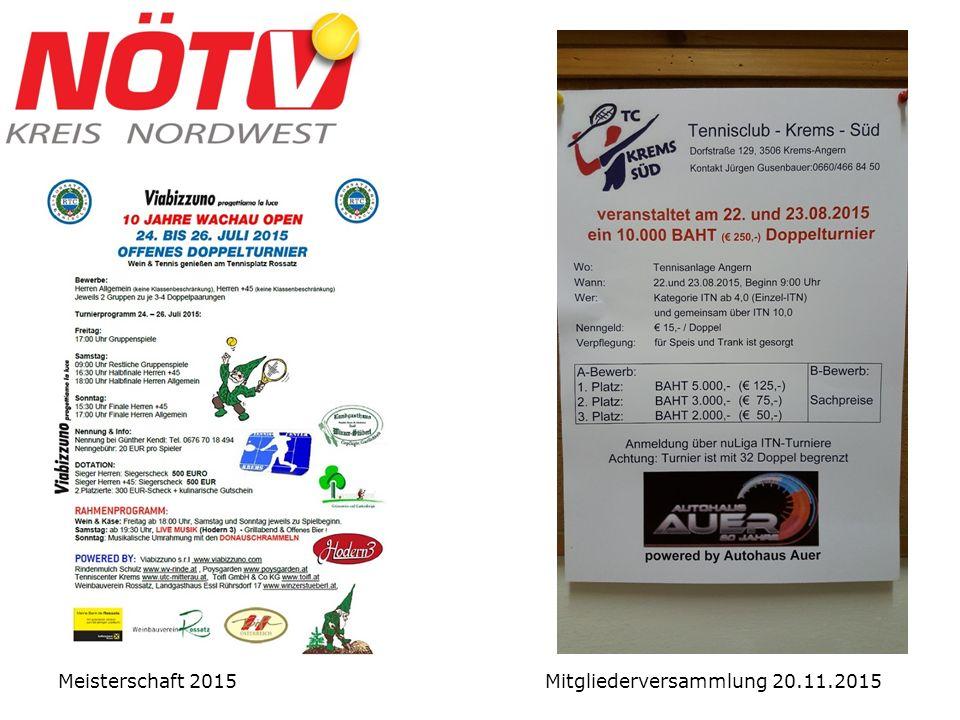 Meisterschaft 2015 Mitgliederversammlung 20.11.2015