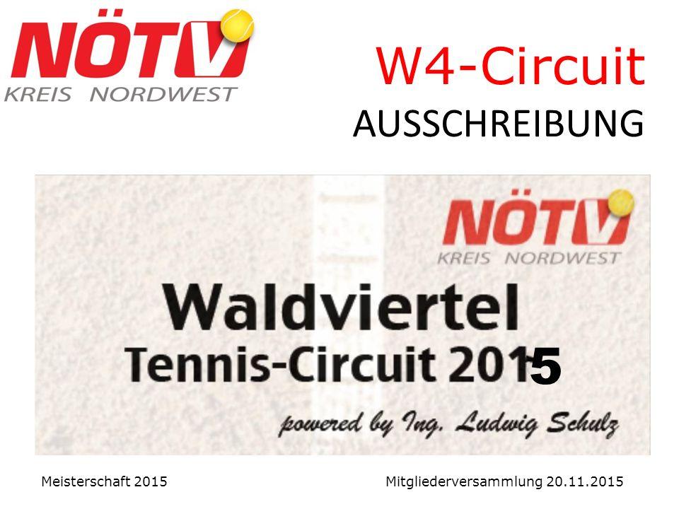 W4-Circuit AUSSCHREIBUNG Meisterschaft 2015 Mitgliederversammlung 20.11.2015 5