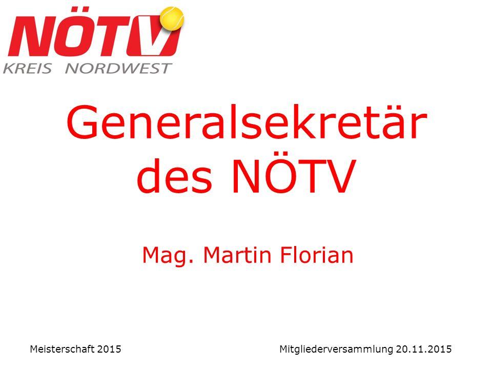 Generalsekretär des NÖTV Mag. Martin Florian Meisterschaft 2015 Mitgliederversammlung 20.11.2015