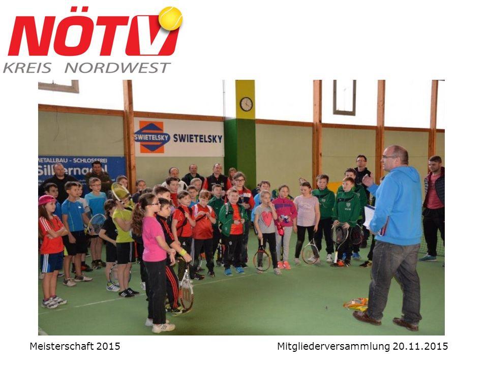 Junior-Wintercup Leitung: Manfred Schmöller Ort: Hoheneich Motto: Trainieren - Üben - MATCHEN Teilnehmer: 31 Kinder (5 Vereine) Kosten: übernahm Kreis Meisterschaft 2015 Mitgliederversammlung 20.11.2015