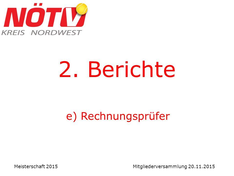 2. Berichte e) Rechnungsprüfer Meisterschaft 2015 Mitgliederversammlung 20.11.2015