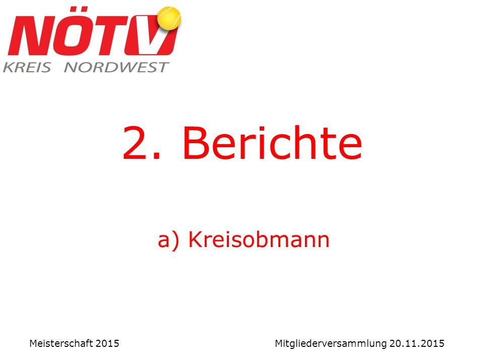 2. Berichte a) Kreisobmann Meisterschaft 2015 Mitgliederversammlung 20.11.2015