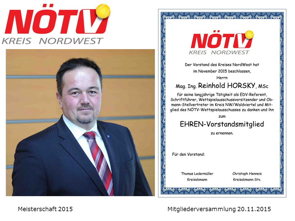Ehrung Reinhold HORSKY Meisterschaft 2015 Mitgliederversammlung 20.11.2015