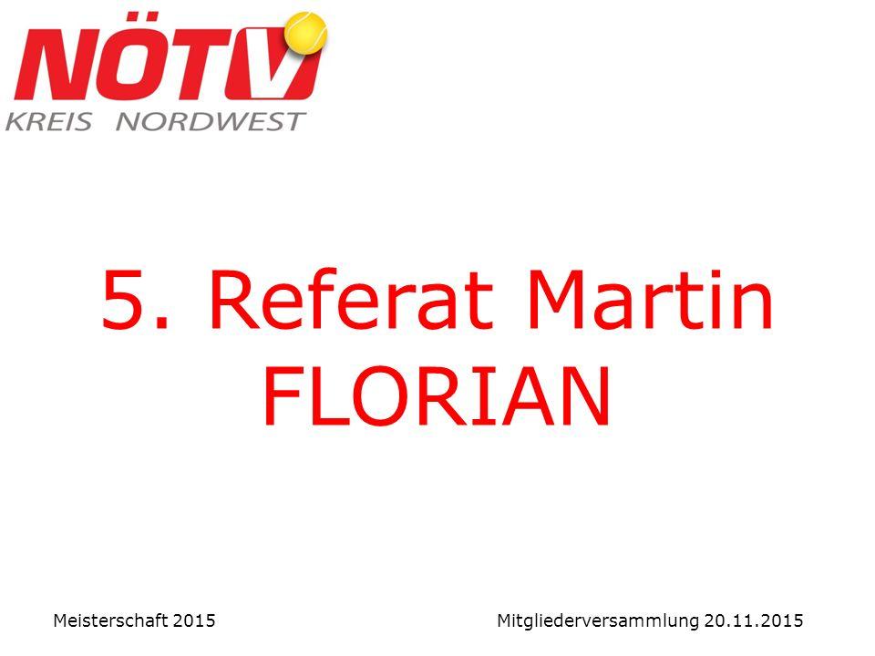 5. Referat Martin FLORIAN Meisterschaft 2015 Mitgliederversammlung 20.11.2015