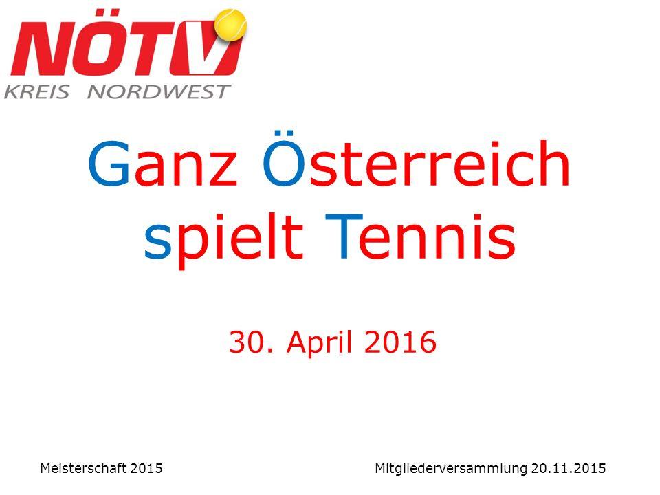 Ganz Österreich spielt Tennis 30. April 2016 Meisterschaft 2015 Mitgliederversammlung 20.11.2015