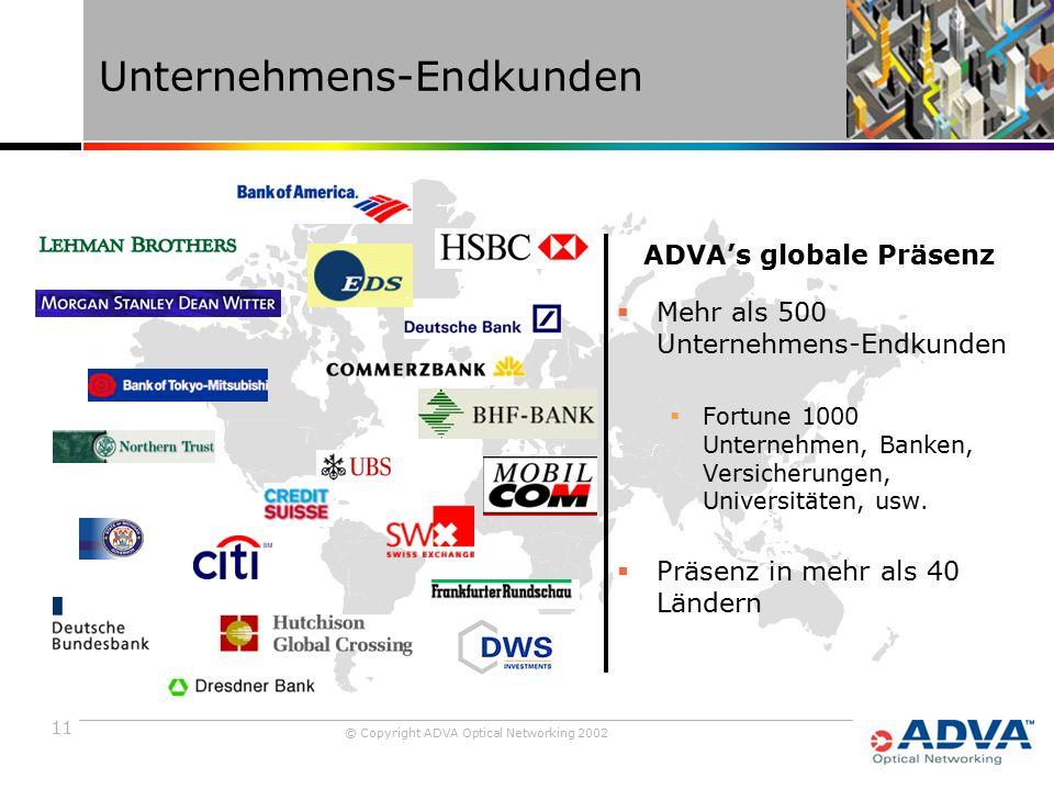 11 © Copyright ADVA Optical Networking 2002 Unternehmens-Endkunden  Mehr als 500 Unternehmens-Endkunden  Fortune 1000 Unternehmen, Banken, Versicherungen, Universitäten, usw.