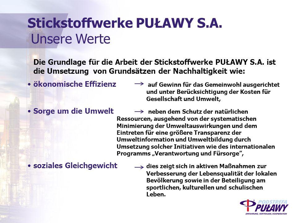 Die Grundlage für die Arbeit der Stickstoffwerke PUŁAWY S.A.