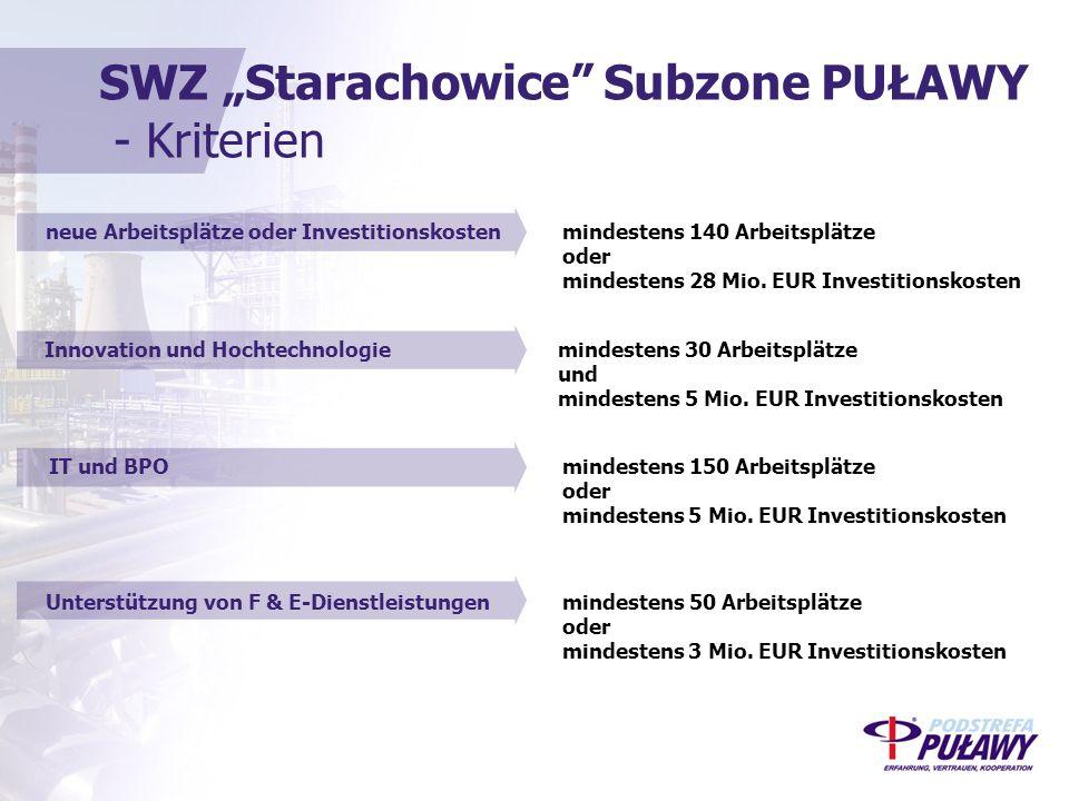 """SWZ """"Starachowice Subzone PUŁAWY - Kriterien IT und BPOmindestens 150 Arbeitsplätze oder mindestens 5 Mio."""