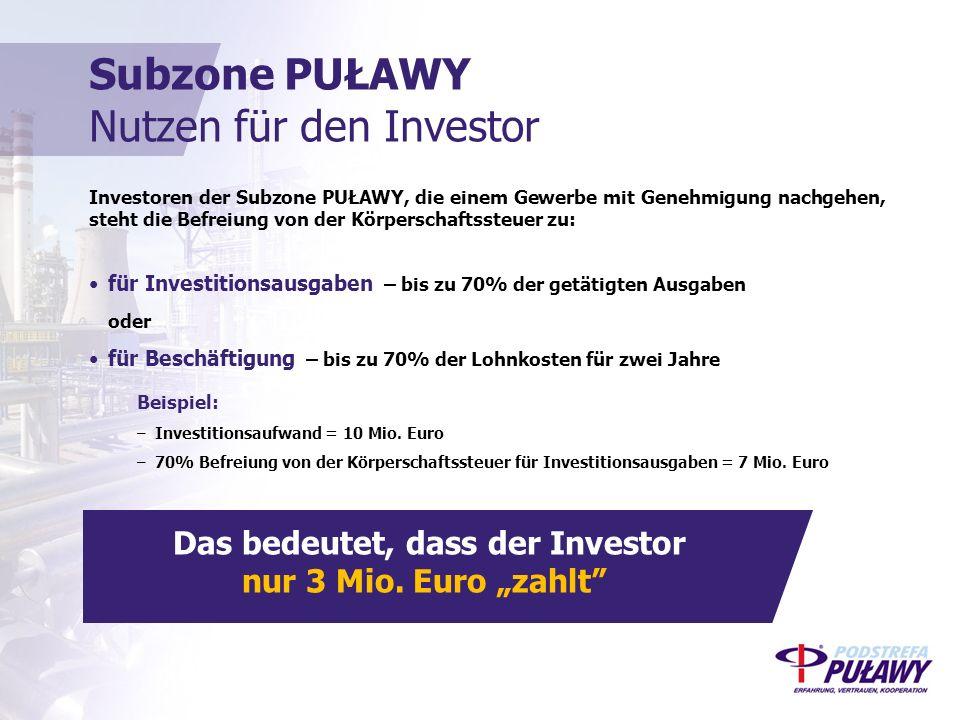 Investoren der Subzone PUŁAWY, die einem Gewerbe mit Genehmigung nachgehen, steht die Befreiung von der Körperschaftssteuer zu: für Investitionsausgaben – bis zu 70% der getätigten Ausgaben oder für Beschäftigung – bis zu 70% der Lohnkosten für zwei Jahre Beispiel: –Investitionsaufwand = 10 Mio.