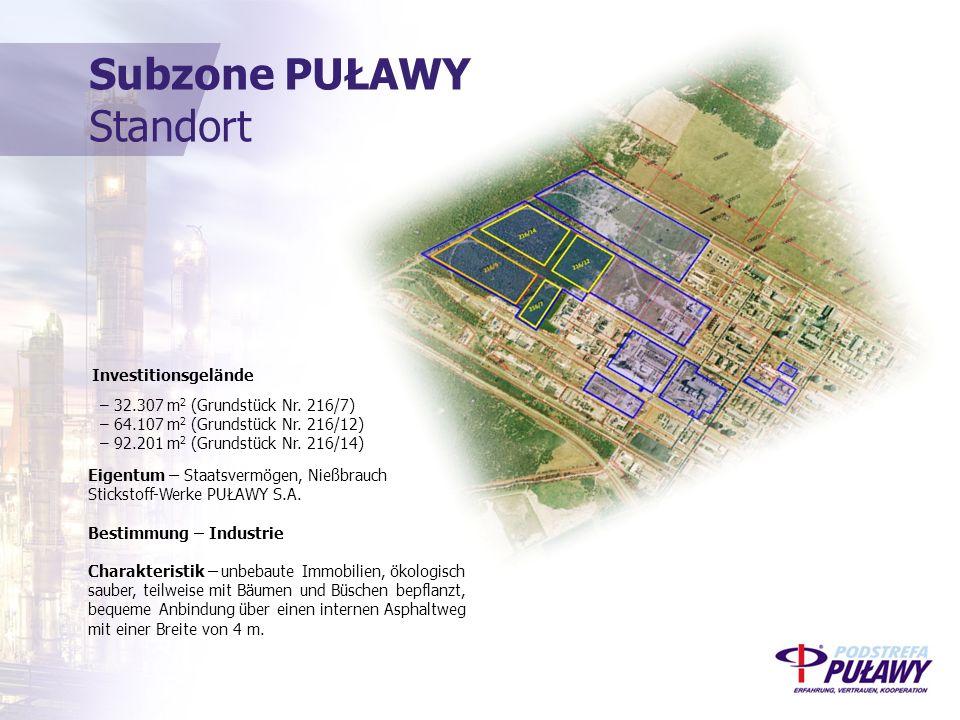Subzone PUŁAWY Standort Eigentum – Staatsvermögen, Nießbrauch Stickstoff-Werke PUŁAWY S.A.