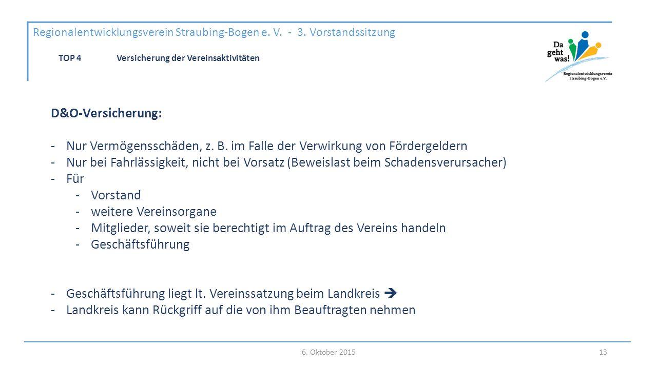 6. Oktober 2015 Regionalentwicklungsverein Straubing-Bogen e.