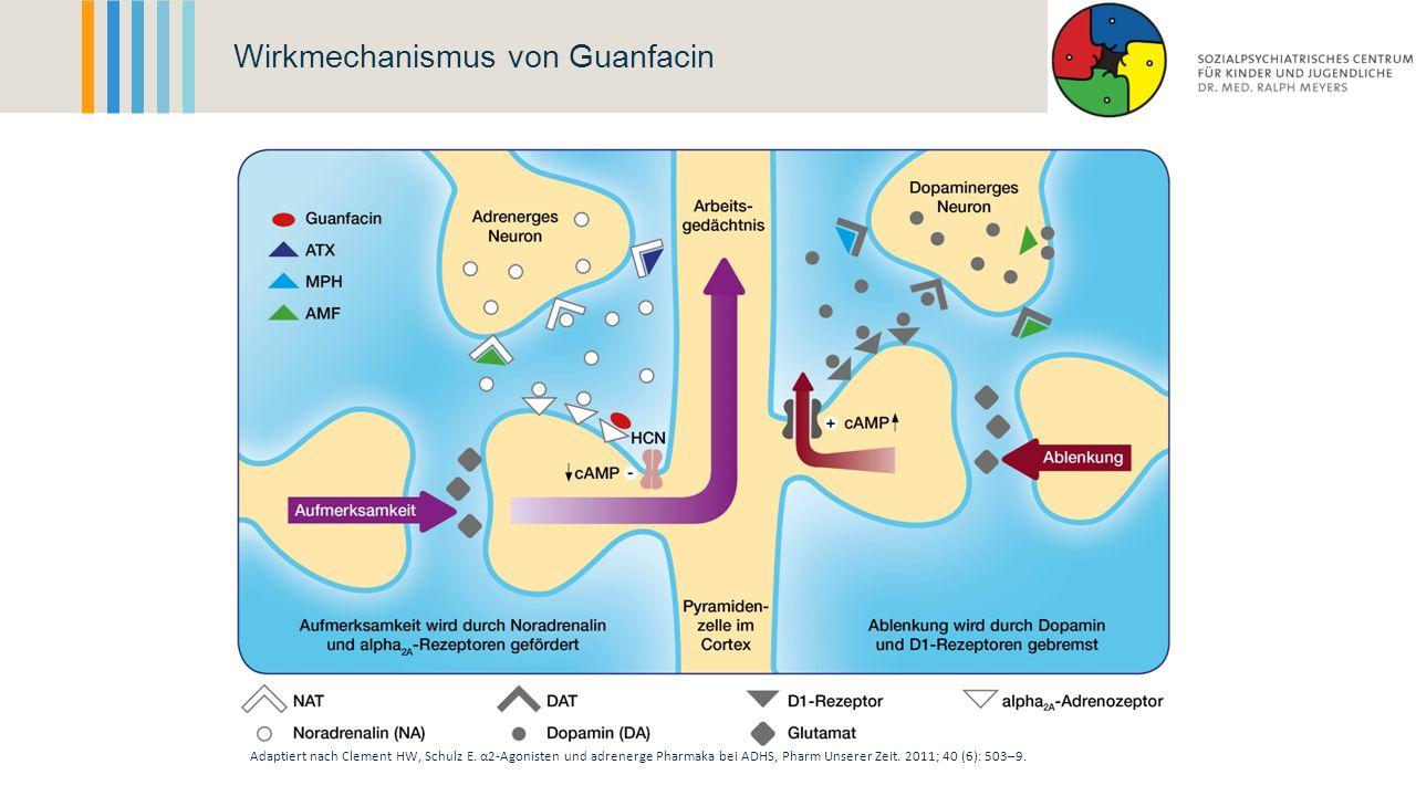 Wirkmechanismus von Guanfacin Adaptiert nach Clement HW, Schulz E. α2-Agonisten und adrenerge Pharmaka bei ADHS, Pharm Unserer Zeit. 2011; 40 (6): 503