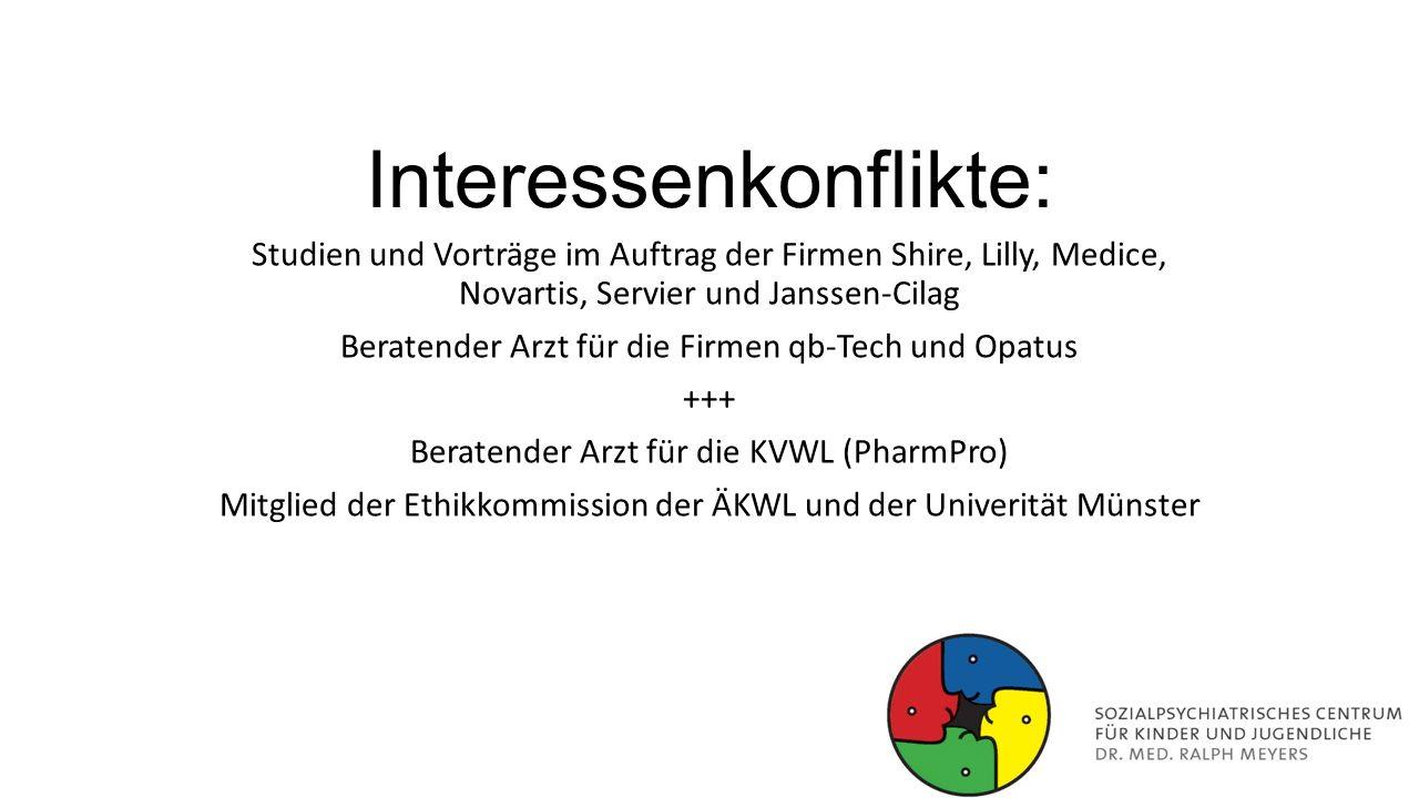 Interessenkonflikte: Studien und Vorträge im Auftrag der Firmen Shire, Lilly, Medice, Novartis, Servier und Janssen-Cilag Beratender Arzt für die Firm