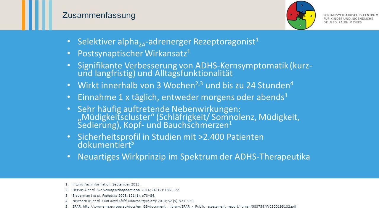 Selektiver alpha 2A -adrenerger Rezeptoragonist 1 Postsynaptischer Wirkansatz 1 Signifikante Verbesserung von ADHS-Kernsymptomatik (kurz- und langfris