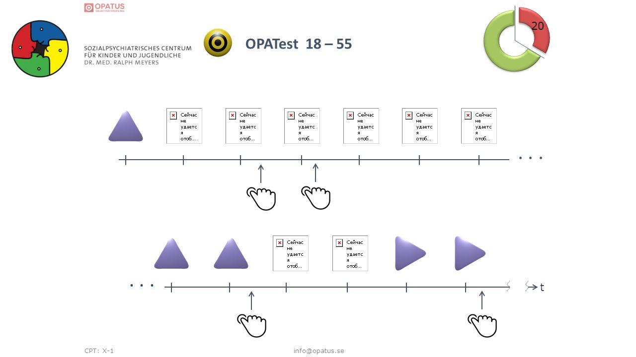 info@opatus.se 20 OPATest 18 – 55 CPT: X-1... t t
