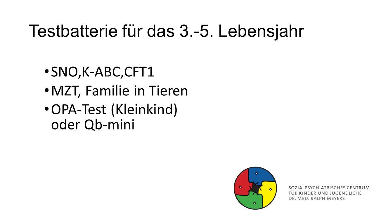 Testbatterie für das 3.-5. Lebensjahr SNO,K-ABC,CFT1 MZT, Familie in Tieren OPA-Test (Kleinkind) oder Qb-mini