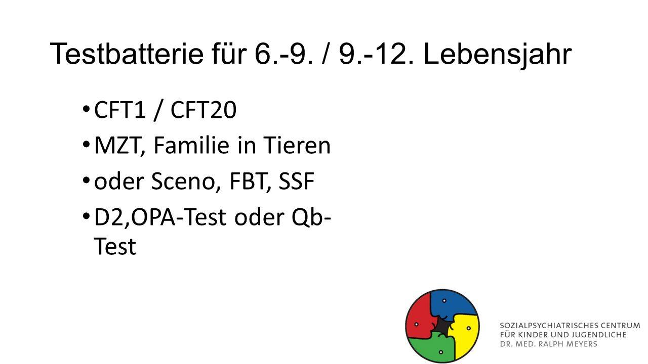 Testbatterie für 6.-9. / 9.-12. Lebensjahr CFT1 / CFT20 MZT, Familie in Tieren oder Sceno, FBT, SSF D2,OPA-Test oder Qb- Test