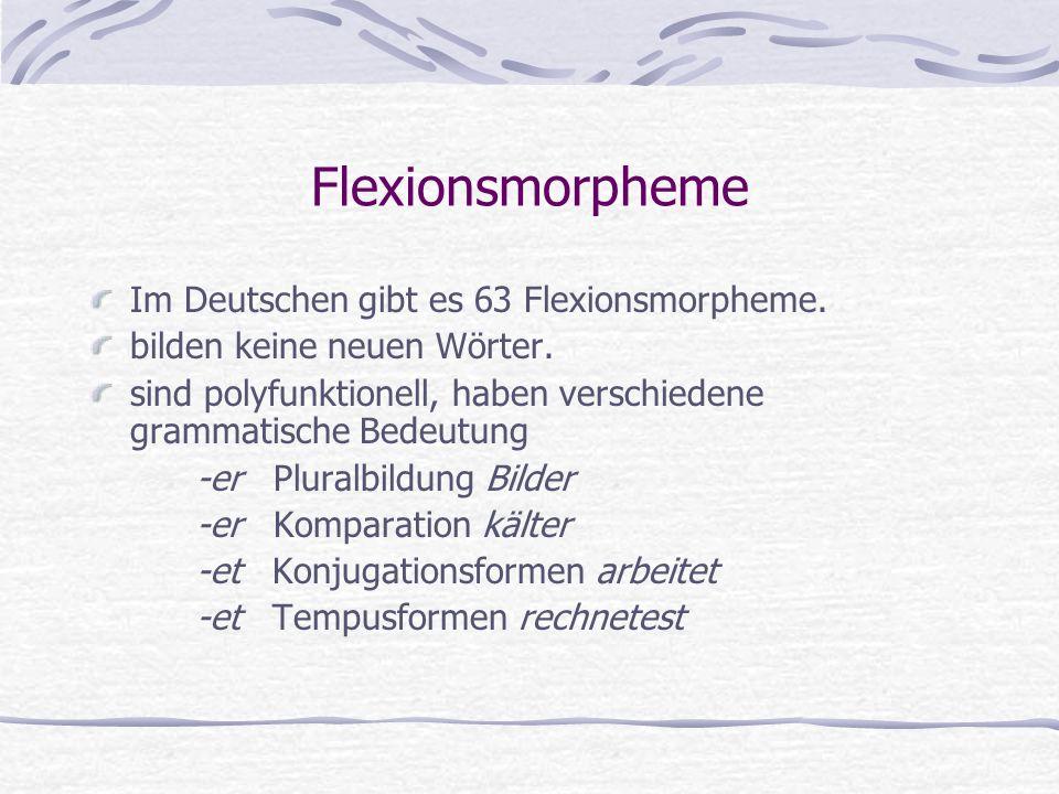 Flexionsmorpheme Im Deutschen gibt es 63 Flexionsmorpheme.