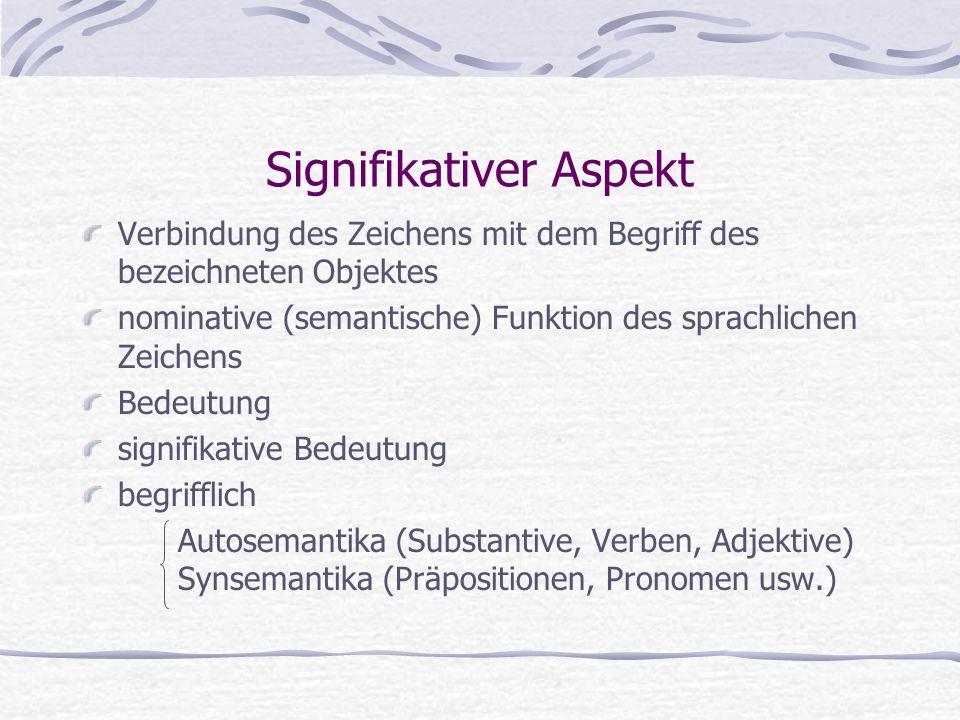 Signifikativer Aspekt Verbindung des Zeichens mit dem Begriff des bezeichneten Objektes nominative (semantische) Funktion des sprachlichen Zeichens Bedeutung signifikative Bedeutung begrifflich Autosemantika (Substantive, Verben, Adjektive) Synsemantika (Präpositionen, Pronomen usw.)