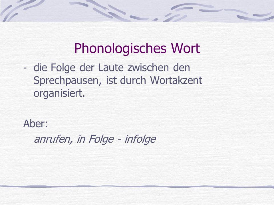 Phonologisches Wort - die Folge der Laute zwischen den Sprechpausen, ist durch Wortakzent organisiert. Aber: anrufen, in Folge - infolge