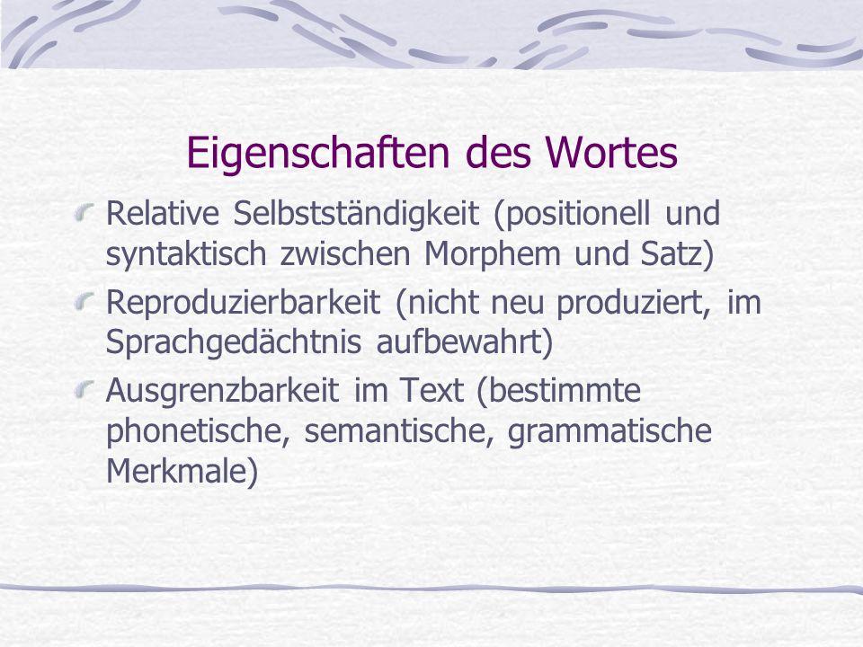 Eigenschaften des Wortes Relative Selbstständigkeit (positionell und syntaktisch zwischen Morphem und Satz) Reproduzierbarkeit (nicht neu produziert,